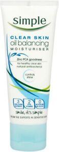 Pack of 6. Simple Clear Skin Oil Balancing Moisturisers 75 ml. Antibacterial.