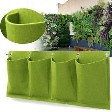 4 Pocket Non-woven Wall Garden Hanging Planting Bag Outdoor Indoor Planter Green