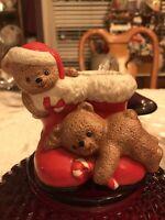 Vintage House of Lloyd 1988 Christmas Holiday Teddy Bear Santa Boots Candy Vase