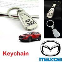 Reflective Chrome 3D Logo Keychain Metal Keyring Keyfob Key Chain Fits MAZDA Car