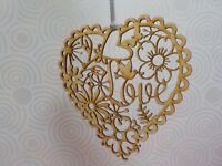 UNFINISHED WOODEN LASER CUT HEART - LOVE