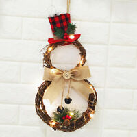 Christmas LED Wreath Hanging Xmas Party Door Wall Home Decor Garland Ornament CN