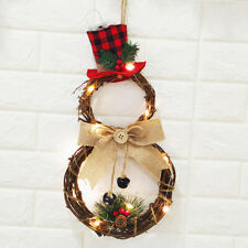 Christmas LED Wreath Hanging Xmas Party Door Wall Home Garland Ornament Decor CN