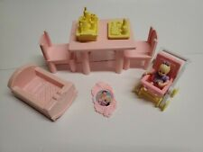Lot of Playskool +FP Vintage Dollhouse Furniture & Accessories Baby trays Crib