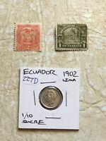 RARE 1916 Ecuador 1/10 Sucre silver Coin UNC Stamp 2 Centavos 1920 & 1C 1920 lot