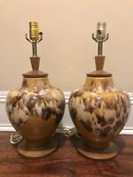 PAIR OF MID-CENTURY DRIP GLAZE POTTERY LAMPS WITH WOOD BASES