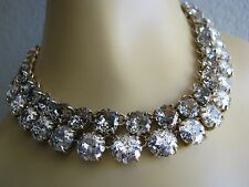 BETSEY JOHNSON ANGELS & WINGS 2 TONE PATINA FACETED STONE STATEMENT NECKLACE~NWT