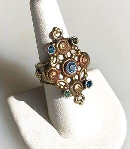 Mars & Valentine Sterling Silver & Brass Peridot & Blue Topaz Ring, Size 8.25