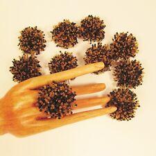 10 POM POM Black Gold Handmade Beaded Stretch Rings WHOLESALE LOT Fundraisers