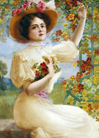 Nice Oil painting beautiful young lady picking spring flowers handpainted canvas