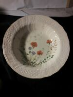 Margaux by Mikasa Round Vegetable Bowl Fine Ivory Weave Rim Rust  Floral 10 1/2""