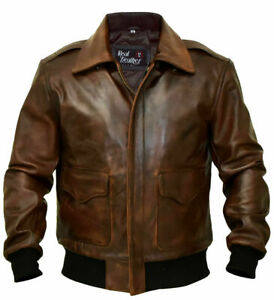 A-2 Brown G-1 Bomber Aviator Flight Navy Distressed Men's Real Leather Jacket
