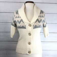 Old Navy Ivory Gray Short Sleeve Knit Button up Sweater (AF01) Women's Size XS