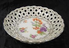 "Elegant Antique1900s  Dresden Flowers Reticulated 6 1/2"" Bowl"