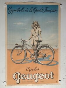 Rare Affiche ancienne Cycle velo Peugeot Pin up par Bazaine 1952