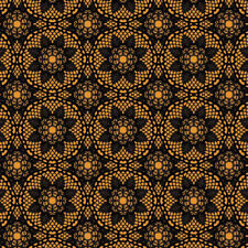 Happy Halloween BLACK Creepy Crochet by Patrick Lose cotton fabric by the yard