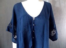 Women's sz M Hollister Asymmetrical Shirt Nwts dark blue floral lace 817-h3