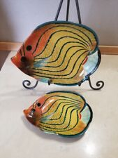 2 Tropical Fish Decorative Plates Trinket Bowls Nautical Ocean Beach Decor