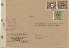 GERMANY BRITISH ZONE 1948 I.Control Council 10 Pf (2 x) and 30 Pf postage cvr