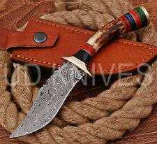 8 INCH UD CUSTOM DAMASCUS STEEL HUNTER KNIFE Stag/ANTLER  HANDLE B1-13123