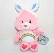 2003 Pink Cheer Bear Easter Bunny Rabbit Ears Care Bears Plush Bean Bag Toy NEW