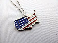 Patriotic necklace red white blue USA map silver chain July 4th Memorial Day