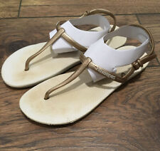 Havaianas Women's 37-38/ US 7.5/8.5 Gold And Ivory Thong Ankle Strap Sandals