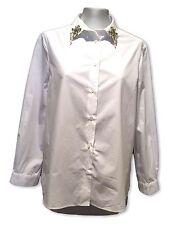 MIU MIU WHITE LONG SLEEVE DRESS SHIRT WITH RHINESTONE DETAIL, 42, $795