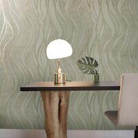 Modern textured Wave lines brass gold Metallic Wallpaper damask 3D wallcoverings
