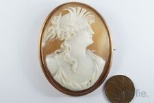 ANTIQUE 9ct GOLD CARVED SHELL DEMETER / CERES CAMEO BROOCH c1900