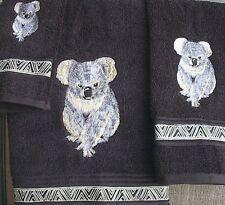 Koala Embroidered Towel Set In Black