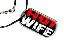 Hot Wife - Military Dog Tag Black Satin Cord Necklace