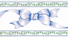 Blue Ribbons Bows Rose Floral Stripe Country Nursery Baby Kid Wall paper Border