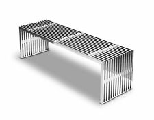 Stainless Steel Bench Polished with Transparent Acryl Würfeln.140 CM