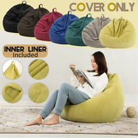 Corduroy Bean Bag Chair Gaming Sofa Cover Indoor Lazy Lounger For Adults Kids