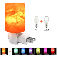 Crystal Rock Himalayan Salt Lamp Mini Hand Carved Multi LED Color Changing Bulb