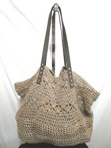 MERONA Extra Large Brown Paper Straw Shoulder Beach Tote Handbag