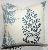 """Double Sided Cushion Cover SANDERSON Ferns Blue White Fabric John Lewis 18"""""""