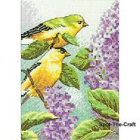 Dimensions Cross Stitch Kit Needlepoint Goldfinch And Lilacs 5 x 7 70-65153