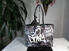 NWT DKNY PVC  Signature Brayden Graffiti Reversible Tote Bag Black/White/Silver
