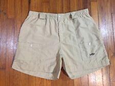Men's Aftco Beige Nylon Fishing Shorts TAG 44 Actual Size 40W Elastic Waist EUC