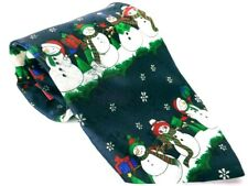 Yule Tie Greeting Men's Dress Necktie 100% Polyester Christmas Snowman Novelty