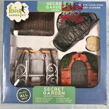 Fairy Garden Kit Secret Garden (12 pc) Bridge Swing Garden Door NEW