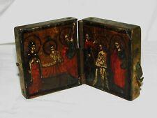 ICONE DE VOYAGE RUSSE DIPTYQUE BOIS PEINT 19ème siècle RUSSIAN TRAVEL ICON wood