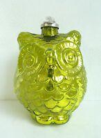 NEW Large Green Metallic Glass Owl Bird Holiday Decorative Christmas Ornament