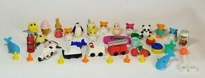 Iwako Japanese Erasers Lot of Cute Tiny 39 Erasers Animals Food Vehicles etc