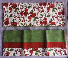 Pair of Roses, Leaves & Berries Handmade Pillowcases Red Trim & Green Leaf Trim
