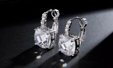 14k White Gold GF Dangle Earrings made w/ Swarovski Crystal Topaz Clear Stone