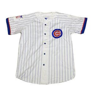 Vintage 1990s Starter MLB Chicago Cubs Stitched Pinstripe Baseball Jersey Size L