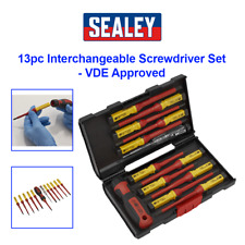 Sealey AK6128 Tools Screwdriver Set 13pc Interchangeable Electrical VDE Approved